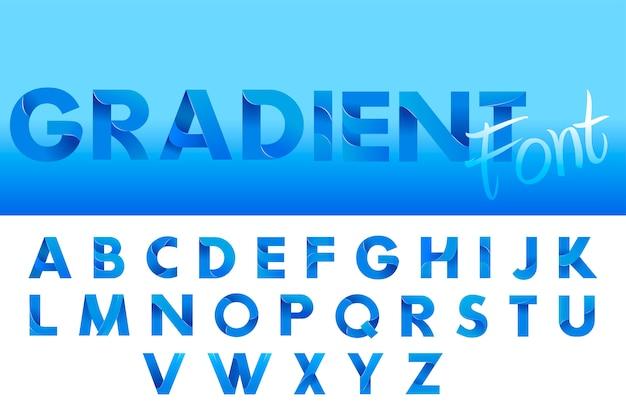 Blauer alphabet-schrifttyp der dekorativen steigung. buchstaben für logo und designtypographie.