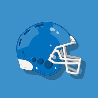 Blauer amerikanischer football-helm auf blauem hintergrund