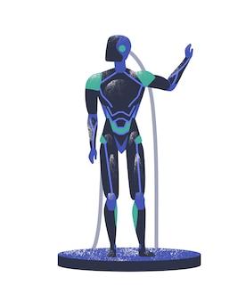 Blauer android mit drähten