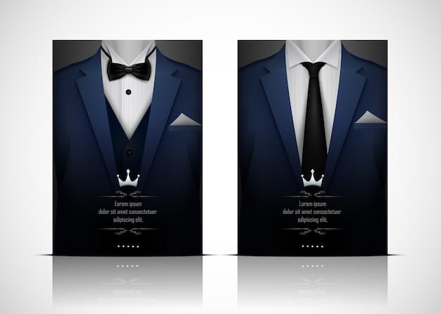 Blauer anzug und smoking mit fliege