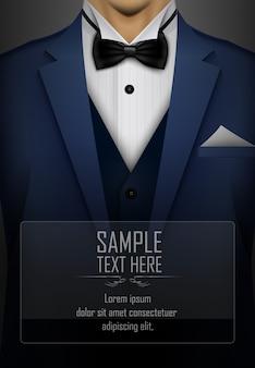 Blauer anzug und smoking mit schwarzer fliege