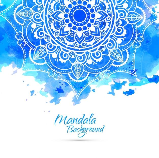 Blauer aquarell-mandala-hintergrund