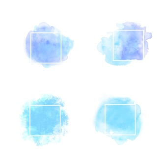 Blauer aquarell textrahmen