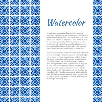 Blauer aquarellhintergrund. abstrakter rahmen in der keramischen art. vorlage mit platz für ihren text.