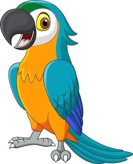 Blauer ara der karikatur lokalisiert auf weiß