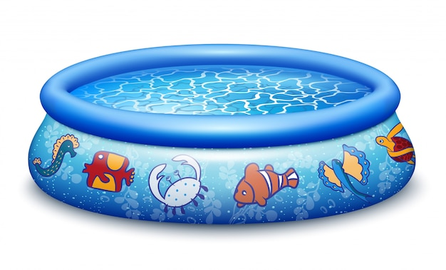 Blauer aufblasbarer pool