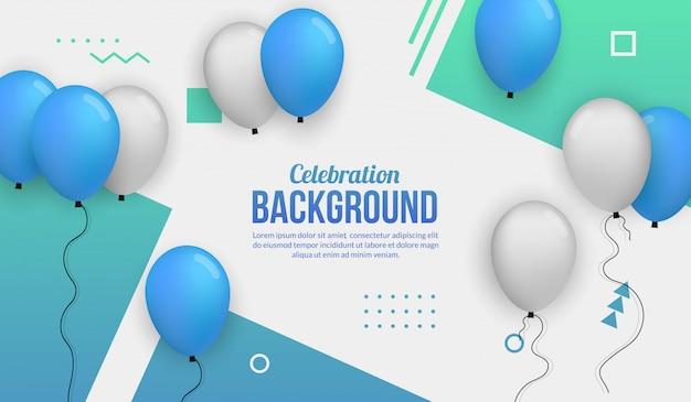 Blauer ballonfeierhintergrund für birhtday party, staffelung, feierereignis und feiertag