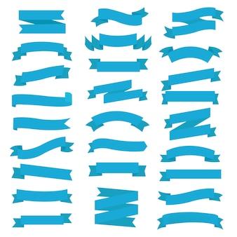 Blauer band-satz weißer hintergrund