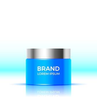 Blauer behälter mit gesichtscreme. kosmetische produkte verpacken. illustration.