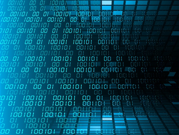 Blauer binärer technologie-konzepthintergrund der cyber-schaltung zukünftiger