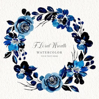 Blauer blumenkranz mit aquarell