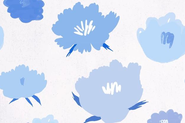 Blauer blumenmusterhintergrundhand gezeichnet