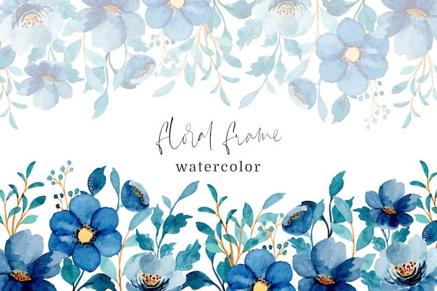 Blauer blumenrahmen mit aquarell