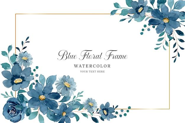 Blauer blumenrahmenhintergrund mit aquarell