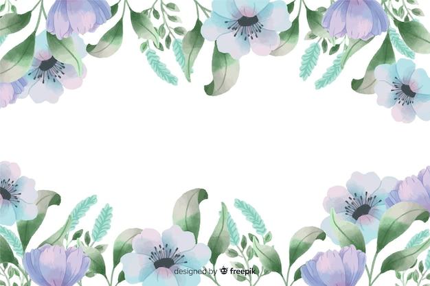 Blauer blumenrahmenhintergrund mit aquarelldesign