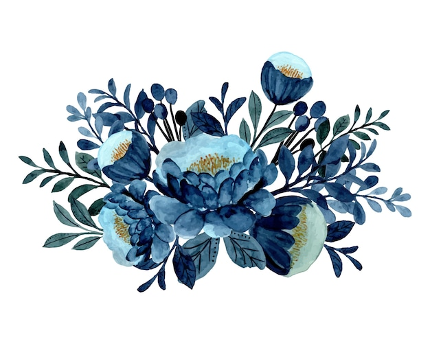 Blauer blumenstrauß mit aquarell