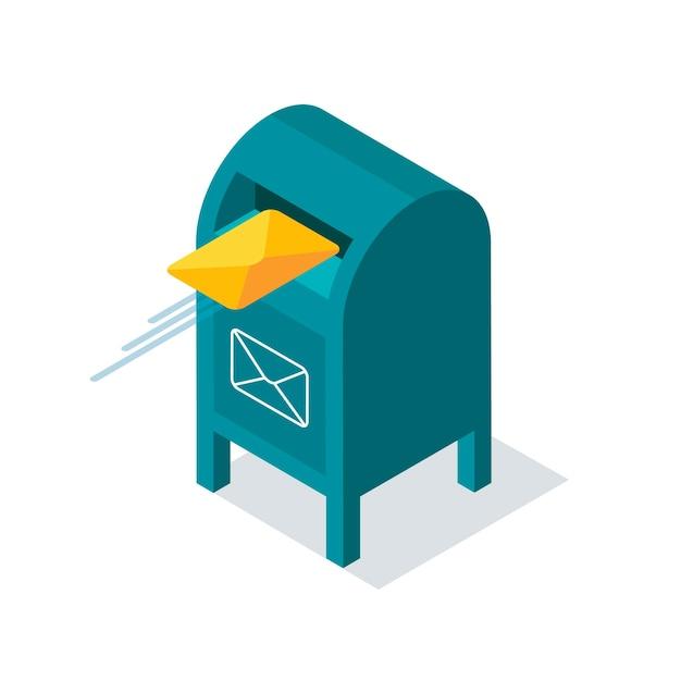 Blauer briefkasten mit buchstaben im isometrischen stil. gelber umschlag fliegt in den briefkasten.