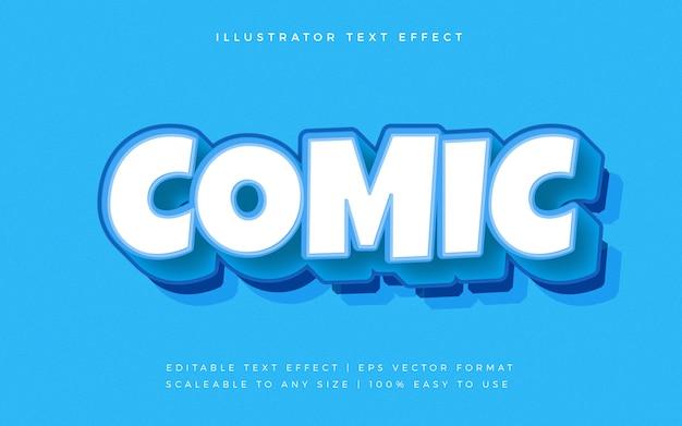 Blauer comic-cartoon-textstil-schrifteffekt