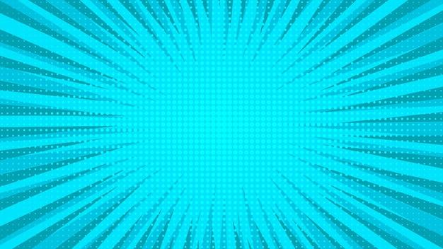 Blauer comic-seitenhintergrund im pop-art-stil mit leerem raum. vorlage mit strahlen, punkten und halbtoneffekt-textur. vektor-illustration