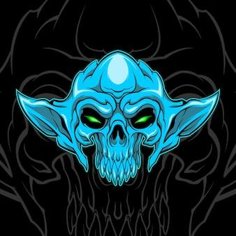 Blauer dämonenschädel