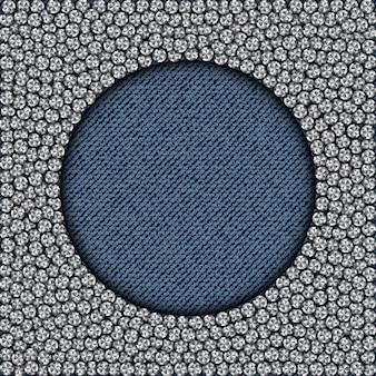 Blauer denimkreis-flitterrahmen