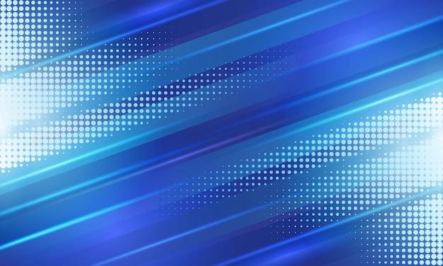 Blauer diagonaler geometrischer streifen mit halbtonhintergrund