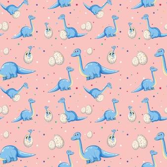 Blauer dinosaurier auf nahtlosem muster