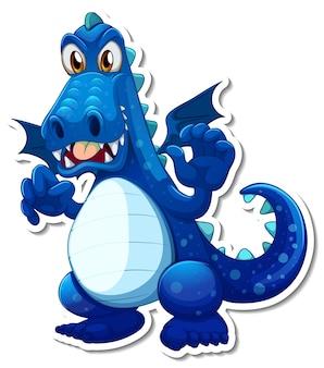 Blauer drache-cartoon-charakter-aufkleber