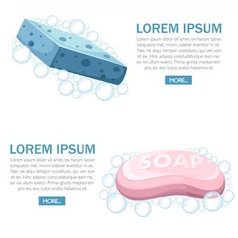 Blauer duschschwamm und rosa seifenstück. schaumblasen. buntes badeikone. illustration auf weißem hintergrund. dusch- und badekonzept für website oder werbung