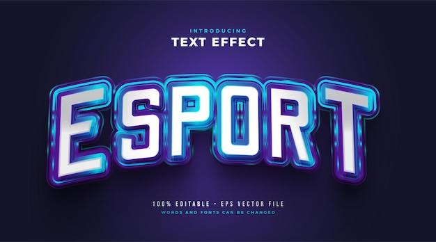 Blauer e-sport-textstileffekt mit leuchtendem effekt. bearbeitbarer textstileffekt