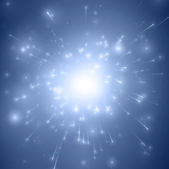 Blauer explosionshintergrund des abstrakten feuerwerks mit leuchtenden funken