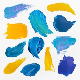 Blauer farbfleck strukturierter vektorpinselstrich kreatives kunstgraphikset