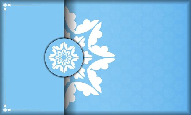 Blauer farbhintergrund mit abstrakter weißer verzierung für design unter ihrem logo oder text
