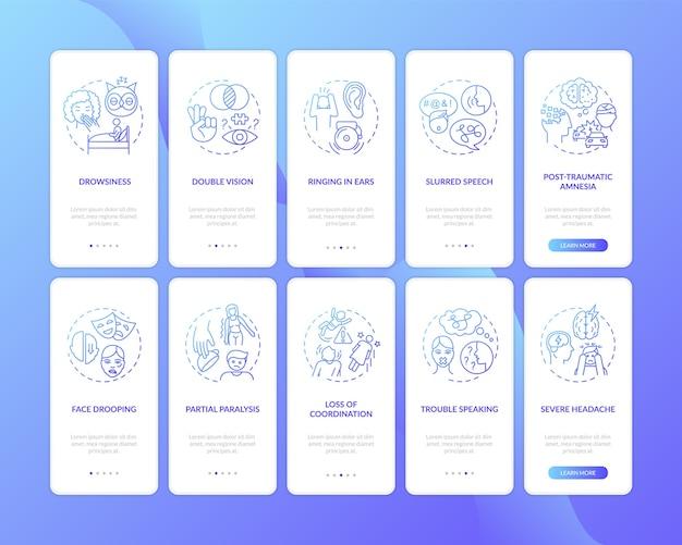 Blauer farbverlauf des neurologischen problemzeichens auf dem seitenbildschirm der mobilen app mit festgelegten konzepten