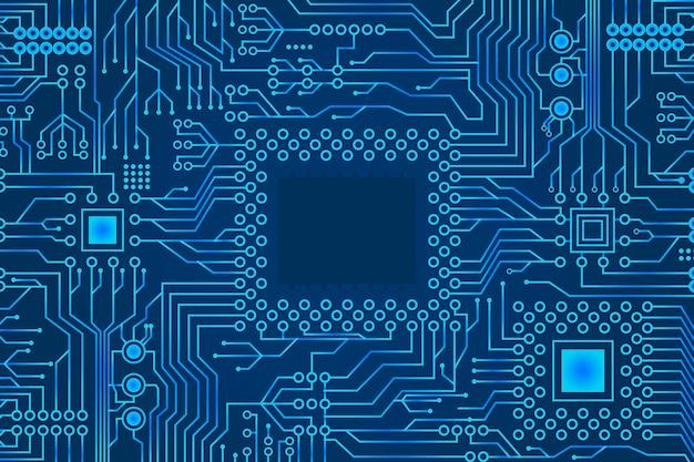 Blauer farbverlauf mikroelektronik-schaltungsplatinenhintergrund