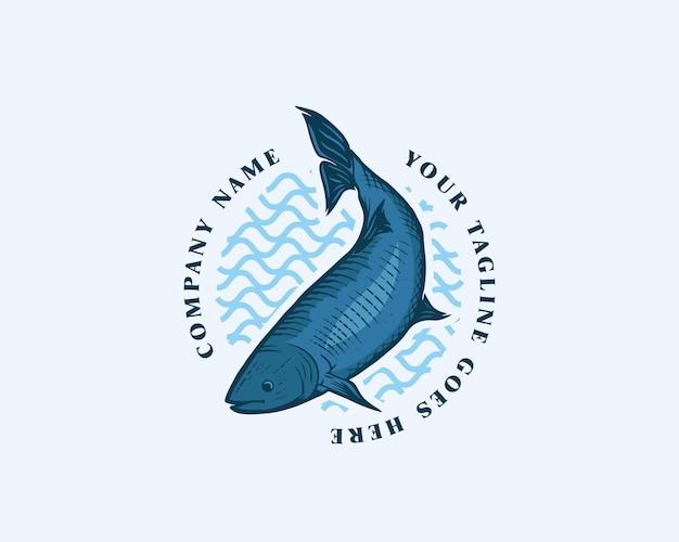 Blauer fisch abgerundete emblem-logo-design-vorlage