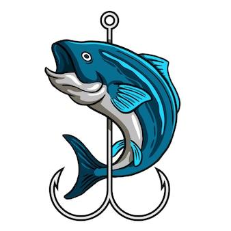 Blauer fisch um haken gewickelt