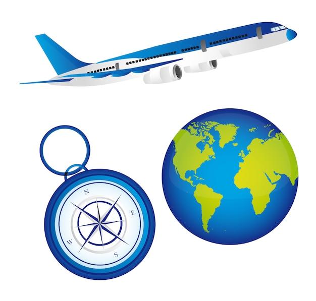 Blauer flacher planet und kompass