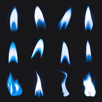 Blauer flammenaufkleber, realistischer feuerbildvektorsatz