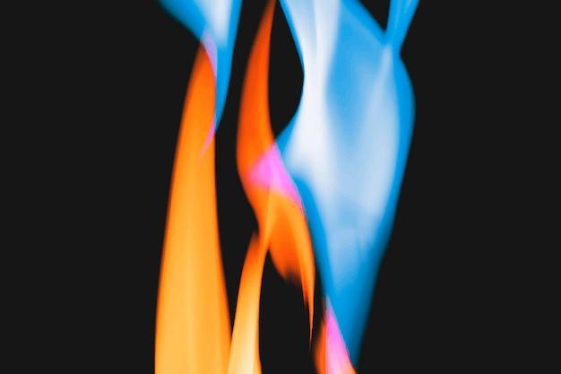 Blauer flammenhintergrund, brennender feuervektor
