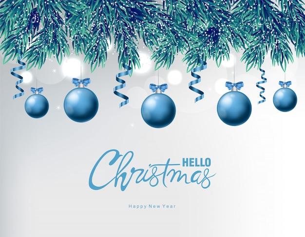 Blauer flitter mit weihnachtsverzierungszeichnungen