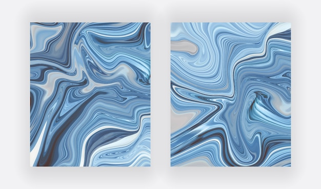 Blauer flüssiger tuschemalerei-abstrakter satz