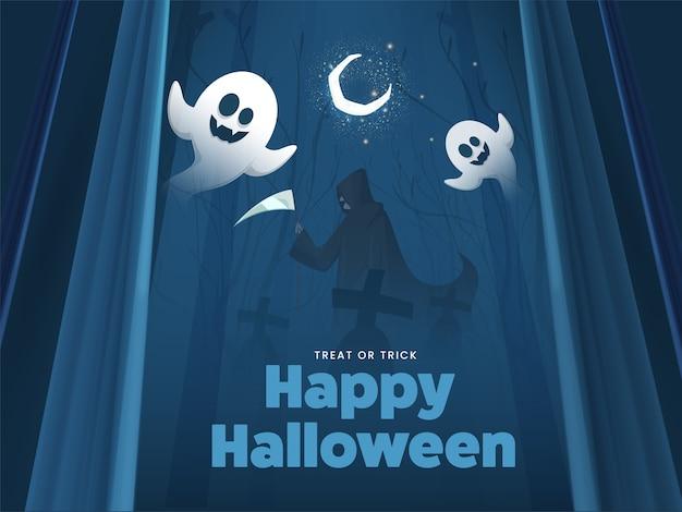 Blauer friedhofswaldhintergrund mit halbmond, karikaturgeister und sensenmann, der sense für glückliche halloween-feier hält.