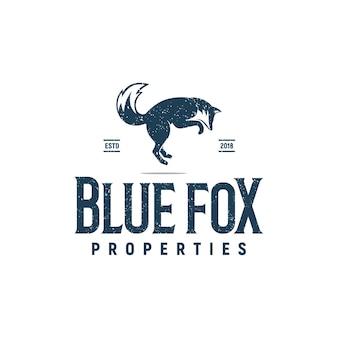 Blauer fuchs sprungeigenschaften logo inspirationsvektor