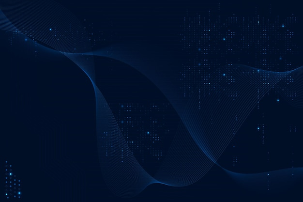 Blauer futuristischer wellenhintergrund mit computercodetechnologie