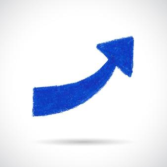 Blauer gebogener pfeil. handgezeichnet mit ölpastellkreide. abstraktes gestaltungselement lokalisiert auf weißem hintergrund.