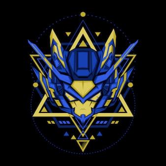Blauer gelber roboter der heiligen geometrie