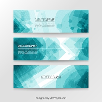 Blauer geometrischer banner sammlung