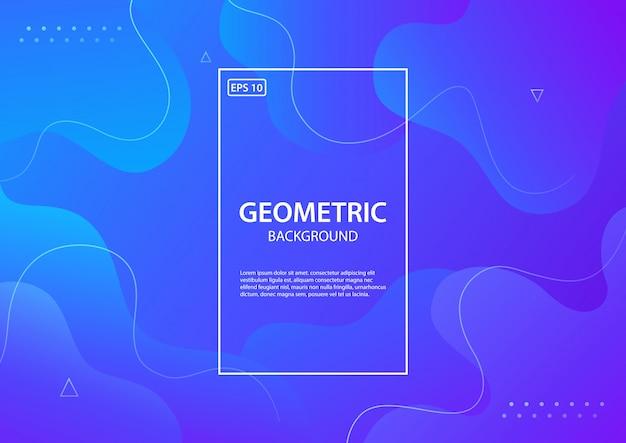 Blauer geometrischer hintergrund. flüssigkeit formt zusammensetzung. illustration