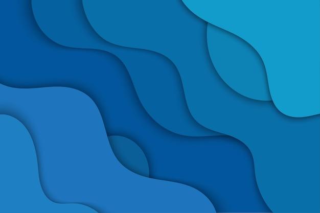 Blauer gewellter papierschnittarthintergrund
